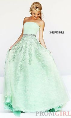 Long Strapless A-Line Formal Gown at PromGirl.com $700 so pretty but OMG,!! Talk about expensive!!