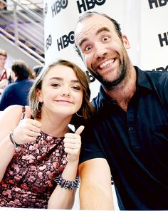 Maisie Williams and Rory McCann attend HBO's 'Game of Thrones' cast autograph signing during Comic-Con 2014 on July 25, 2014 in San Diego, California
