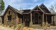 The Balsam Mountain Lodge rustic house plan has a huge lodge room with a ton of windows to view you amazing lot. This house plan also boast an expandable design