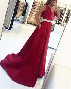 Classy Prom Dresses, Sexy V Neck Sweep Train Prom Dress, Sleeveless Prom Dresses with Beads Belt, Long Evening Dress Prom Dresses Long Prom Dresses With Pockets, Straps Prom Dresses, Open Back Prom Dresses, Long Prom Gowns, Beaded Prom Dress, Formal Evening Dresses, Evening Gowns, Evening Party, Formal Prom