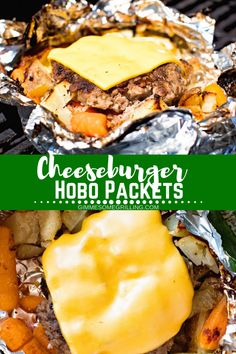Cheeseburger Hobo Packets are a quick foil packet dinner! Need an easy dinner recipe? You can make these Hobo Cheeseburger packs on your grill or in your oven for a delicious dinner! We love these casseroles with cheese burgers and vegetables! Tin Foil Dinners, Foil Packet Dinners, Foil Pack Meals, Campfire Meals Foil, Campfire Food, Campfire Desserts, Hobo Packets, Grilling Recipes, Cooking Recipes