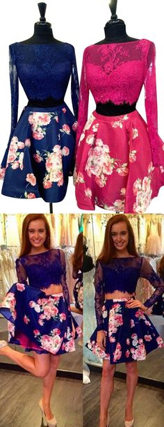 2016 homecoming dress, two piece homecoming dress, floral pint homecoming dress, long sleeves homecoming dress, party dress, evening dress, dancing dress