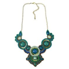 """Women's Bib Necklace with Beads - Gold/Blue (15"""")"""