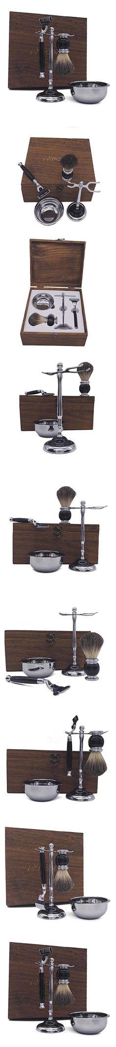 AKPOWER Shaving Gift Set for Men, Badger Brush, Bowl, Stand and Cartridge Razor Black