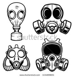 Set of gas masks isolated on white background. Design element for logo label Gas Mask Drawing, Gas Mask Art, Masks Art, Gas Masks, Graffiti Drawing, Graffiti Lettering, Graffiti Art, Tattoo Mascara, Tattoo Drawings