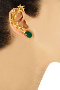 Gold plated emerald onyx earcuff by Tanvi Garg. Shop now: www.perniaspopups…