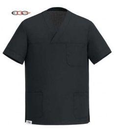 Casaca de Cocinero AIR PLUS, de manga corta, negra , cuello de pico. Sistema AIRPLUS para estar fresco. Fresco, Polo Shirt, Mens Tops, Shirts, Fashion, Jackets, Black, Clothing, Moda