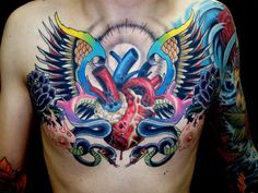 Holy shiny and bright chestpiece -Tattoo by Orrin Hurley, NYC.