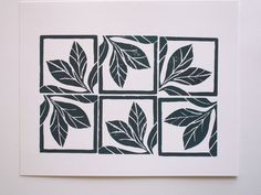 Winter Leaves Linocut Block Print - 8 x10 - Dark Green Block Print. $15,00, via Etsy.