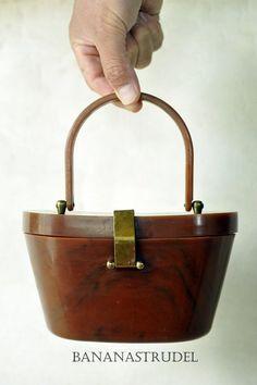Vintage Art Deco Bakelite Handbag/Purse with Brass Trim - 1940s - 1950s on Etsy, $120.00