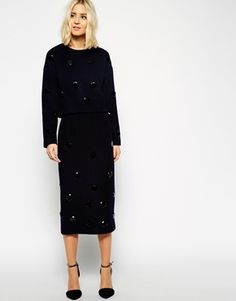 Asos midi skirt with large stones