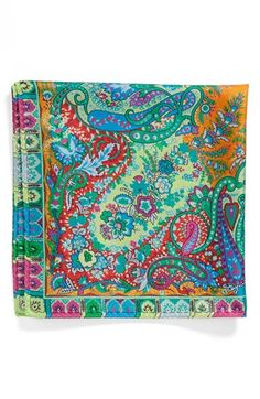 $110, Green Print Pocket Square: Etro Usa Paisley Silk Pocket Square Green One Size. Sold by Nordstrom. Click for more info: https://lookastic.com/men/shop_items/158624/redirect