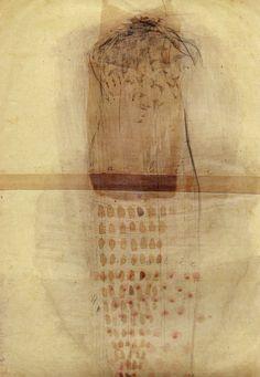 """Magda Huygens tekening op oud papier """"vitalie"""""""