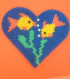 Two fish in a love heart hama beads by TheMissBlue