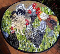 Ceramic mosaic roosters & hens  on wrought iron table