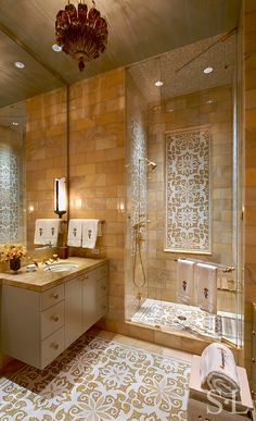 Skyline Penthouse - Guest Bath - Suzanne Lovell, Inc.