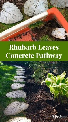 Rhubarb Leaves Concrete Pathway – Made By Barb – simple, cheap, easy - All For Garden Garden Yard Ideas, Side Garden, Garden Crafts, Garden Projects, Garden Art, Garden Tools, Garden Pests, Fence Ideas, Easy Garden