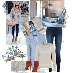 """""""Lovely earrings with a blue coat"""" by sarapires on Polyvore"""