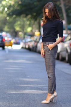 plaid trousers and navy top work outfit