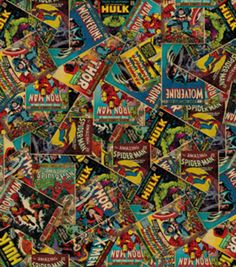 Sammy wants me to make a scarf for the fall/winter season made out of retro and modern Marvel comics fabric...