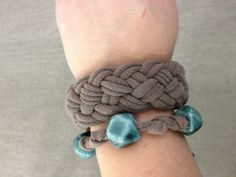 Recycled t-shirt bracelet/cuff.