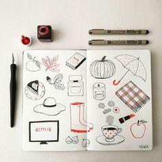 My autumn favorites. Black and red ink illustration by Tània Garcia.
