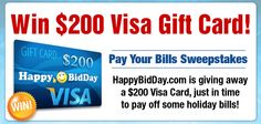 HappyBidDay is giving away $200 Visa Card just in time to pay off some holiday bills. What would you do with $200 spending money? Enter now!