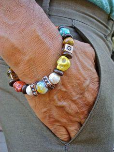 Bohemio Rocker pulsera de los hombres Semi precioso por tocijewelry