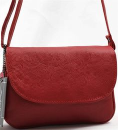 RED SMALL COWHIDE LEATHER CROSS BODY SHOULDER MESSENGER BAG TRAVEL PURSE