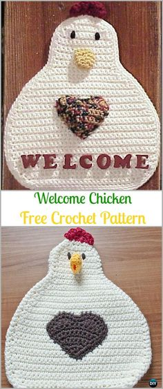 Crochet Welcome Chicken Free Pattern - Easter Chicken Free Patterns Crochet Chicken Potholder Free Patterns: Easter chicken pot holder, Hen potholder, Easter kitchen table decoration, chicken door hanging/wall hanging Crochet Kitchen, Crochet Home, Diy Crochet, Crochet Crafts, Crochet Projects, Crochet Potholder Patterns, Crochet Dishcloths, Doily Patterns, Square Patterns
