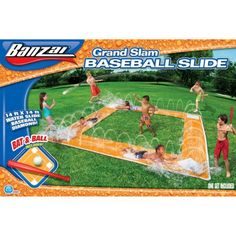 Slip n Slide Grand Slam Baseball Water Toys Outdoor Sports Kids Inflatable New Slip And Slide Baseball, Slip N Slide, Softball Party, Baseball Birthday Party, Baseball Party Games, Sports Party, Baseball Season, Baseball Mom, Baseball Stuff
