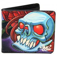 Folter Black Red White Skull Skeleton Tri-Fold Wallet Faux Leather