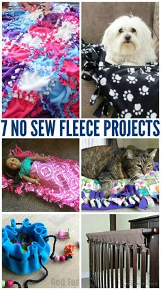 7 No Sew Fleece Projects including the now famous DIY fleece blanket! Even something here for your dogs and cats!