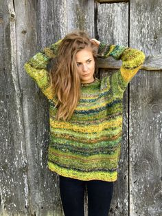 Green sweater Chunky sweater Women's sweater Plus size by adaLV