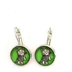 Green cat earrings Green cat earrings Jewelry Earrings