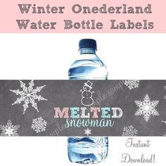 Melted Snowman Water Bottle Labels WINTER ONEDERLAND Chalkboard Instant Download Birthday Party Snowman and snowflakes by littlebirdieprints on Etsy https://www.etsy.com/listing/214523406/melted-snowman-water-bottle-labels