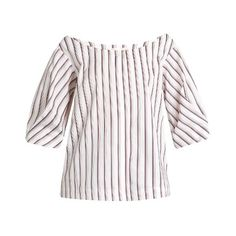 Isa Arfen Bunting Stripe button-down cotton top (€320) ❤ liked on Polyvore featuring tops, white multi, striped boatneck top, striped off-the-shoulder tops, white boat neck top, loose tops and white off the shoulder top