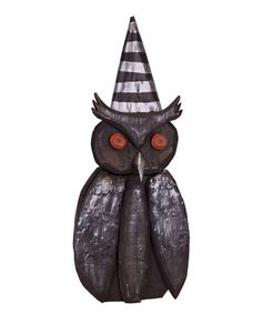Another great find on #zulily! Wood Stripe Hat Owl Figurine #zulilyfinds