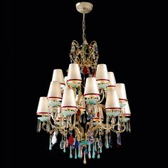 Exclusive Vintage Design Gold Plated Crystal Tiered Chandelier