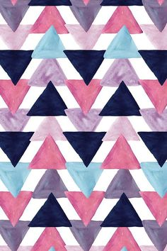 blue lagoon watercolor triangles by ivieclothco - Mauve, teal, lavender, and navy blue watercolor tr Blue Wallpaper Iphone, Blue Wallpapers, Watercolor Wallpaper Iphone, Pretty Wallpapers, Cute Backgrounds, Wallpaper Backgrounds, Painting Wallpaper, Fabric Wallpaper, Tribal Pattern Wallpaper