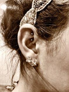 Rook Piercing Earrings ~ http://tattooeve.com/rook-piercing-for-women/ Piercing