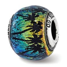 Sterling Silver Reflections Palm Trees Rainbow Italian Murano Glass Bead