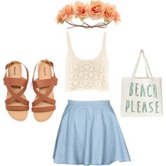The beach by gracerankcom on Polyvore featuring polyvore fashion style H&M Charlotte Russe