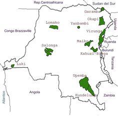 Parques Nacionales de Congo Kinshasa (Mapa)