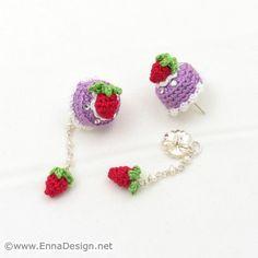 Micro Mini Amigurumi Cake and Strawberry Earring  by ennadesign, $40.00