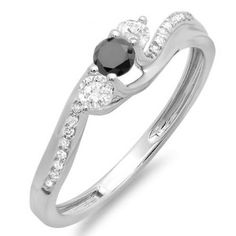Share and get $20 off your order of $100 or more. 0.50 Carat (ctw) 18k White Gold Round Black And White Diamond 3 Stone Ladies Swirl Bridal Engagement Ring 1/2 CT - Dazzling Rock #https://www.pinterest.com/dazzlingrock/