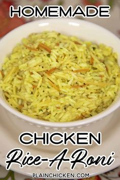 Homemade Chicken Rice-A-Roni - Plain Chicken - Homemade Chicken Rice-A-Roni Recipe – you'll never use the boxed stuff again! Rice Side Dishes, Vegetable Side Dishes, Pasta Dishes, Food Dishes, Chicken Side Dishes, Side Dishes For Chicken, Vegetable Recipes, Chicken And Rice A Roni Recipe, Homemade Rice A Roni