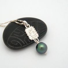 Tahitian Black Pearl 7.6mm Tiny Tiki Silver by MooreaDesign, $110.00