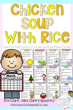 Chicken Soup with Rice: Poems for Each Month Poetry Activities, Teaching Activities, Teaching Resources, Teaching Tools, Teaching Ideas, Teaching Poetry, Teaching Reading, Shared Reading, Kids Reading