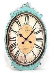 Blue Distressed Oval Metal Clock - $187.49